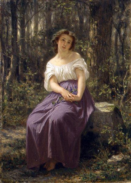 100%品質保証 名画 絵画 油絵 Merle_森の中の少女 SALE Hugues