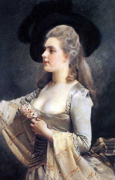名画 絵画 油絵 結婚祝い 出色 Gustave_黒い帽子の女 Jaquet