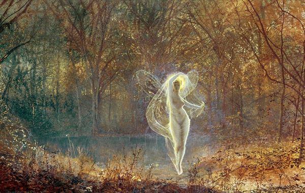 名画 絵画 春の新作 油絵 Atkinson 開店祝い John Grimshaw_秋の妖精