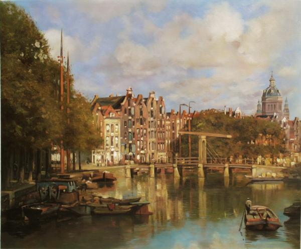 名画 アウトレット 絵画 油絵 Klinkenberg Johannes Christiaan 新着セール Karel_聖ニコラス教会の風景