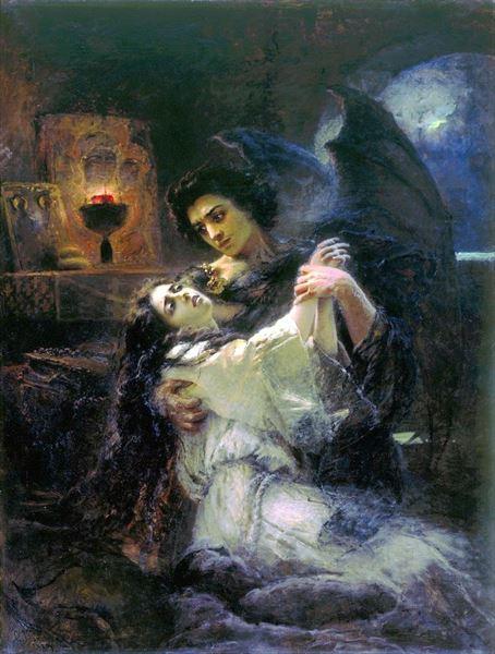 名画 激安 激安特価 送料無料 絵画 内祝い 油絵 Yegorovich Konstantin Makovsky_タマラと悪魔