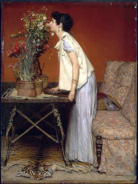 名画 絵画 爆安プライス 油絵 全国一律送料無料 Lawrence Alma-Tadema_女と花