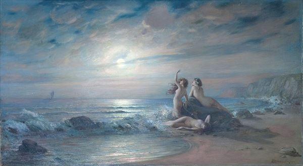名画 使い勝手の良い 返品交換不可 絵画 油絵 Karlovich Victor Shtemberg_海の魔女たち