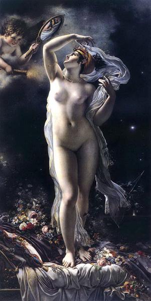油絵 Anne-Louis Girodet_天使の手鏡