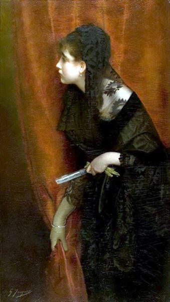 名画 絵画 油絵 Jacquet_扇子を持つ女 AL完売しました Gustave 定番の人気シリーズPOINT(ポイント)入荷 Jean