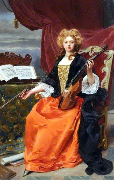 名画 絵画 往復送料無料 油絵 商い Gustave Jacquet_音楽 Jean