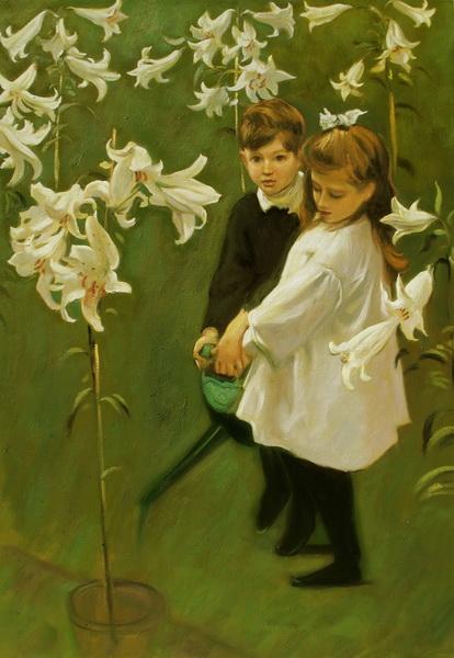 名画 オンライン限定商品 Seasonal Wrap入荷 絵画 サージェントの名作_ヴィッカーズ家の子供たち 油絵