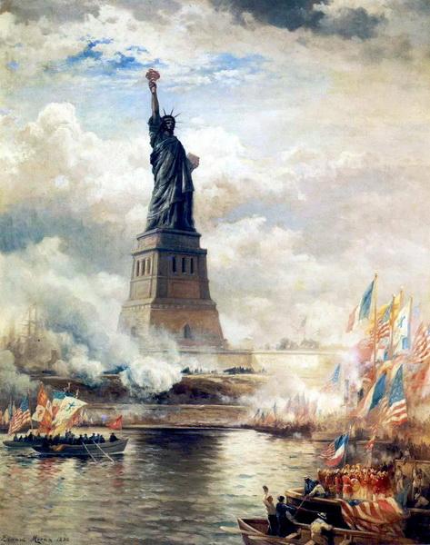 油絵 Edward Moranの名作_自由の女神の除幕式