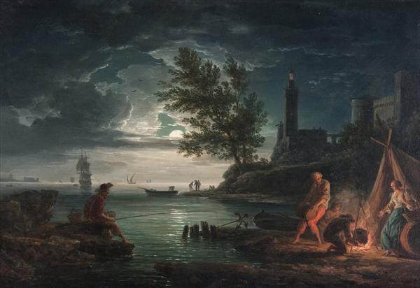 油絵 クロード・ジョセフ・ヴェルネの名作_一日の四つの時・夜