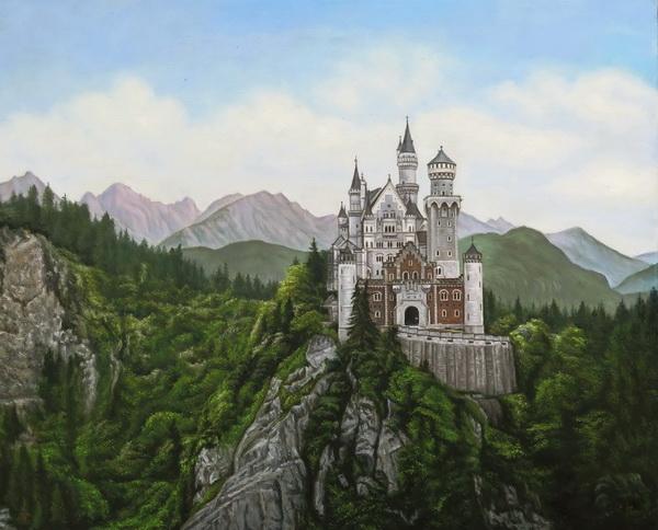 特価油絵 ノイシュバンシュタイン城