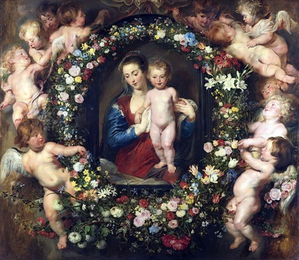 油絵 ルーベンスの名作_花輪の中の聖母マリア