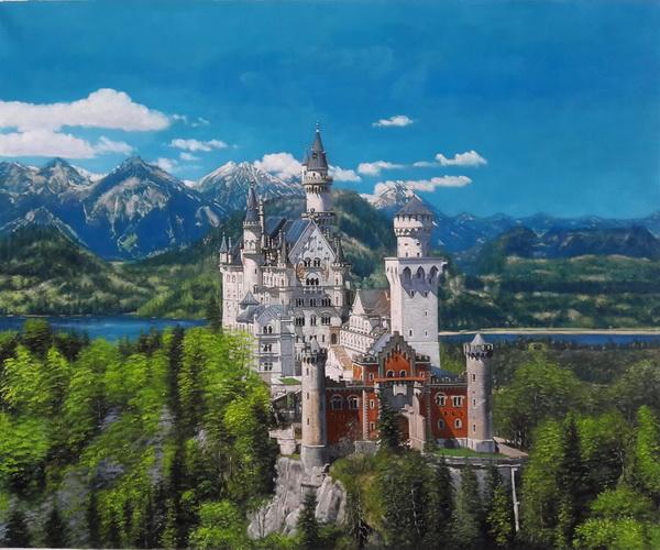 絵画 迅速な対応で商品をお届け致します 油絵 記念日 ノイシュバンシュタイン城の春