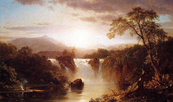 油絵 フレデリック・エドウィン・チャーチ_滝の風景
