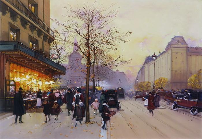 名画 2020新作 絵画 油絵 Eugene パリの夕暮れ Galien-Laloue_ 限定品