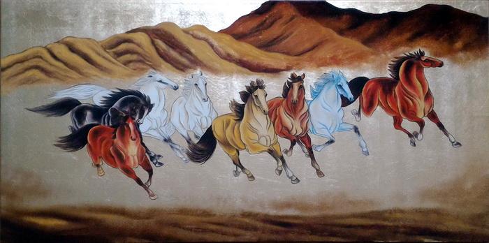 特価漆絵 駆ける八頭の馬