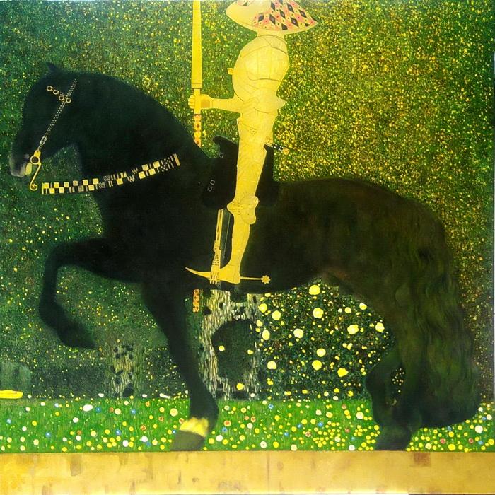 漆絵 クリムトの名作「人生は戦いなり(黄金の騎士)」