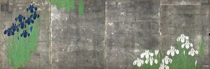 名画 絵画 漆  漆絵 Ueda Koho_燕子花(かきつばた)図