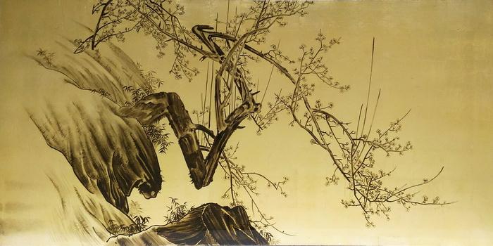 名画 絵画 漆  漆絵 森 寛斎の名作_岩と川面の梅と竹図