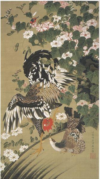 漆絵 伊藤若冲の名作_芙蓉双鶏図