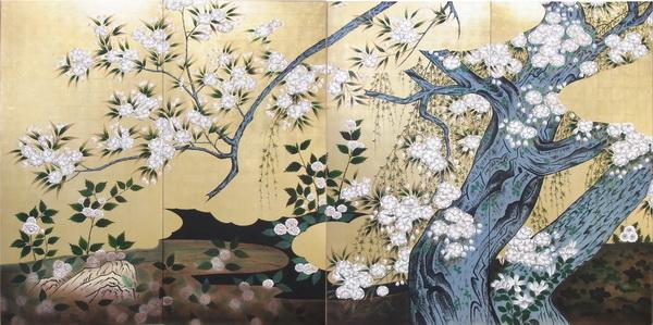 漆絵 長谷川久蔵の名作「桜図」全図(左隻+右隻)
