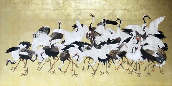 漆絵 石田幽汀の名作「群鶴図」右隻