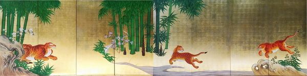 名画 絵画 漆  漆絵 狩野探幽の名作_竹虎図 左隻+右隻