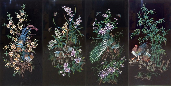 沈金による漆絵「花鳥図」セット