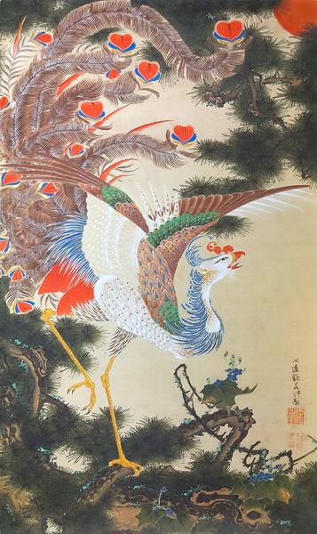 漆絵 伊藤若冲の名作_孔雀鳳凰図の内鳳凰図