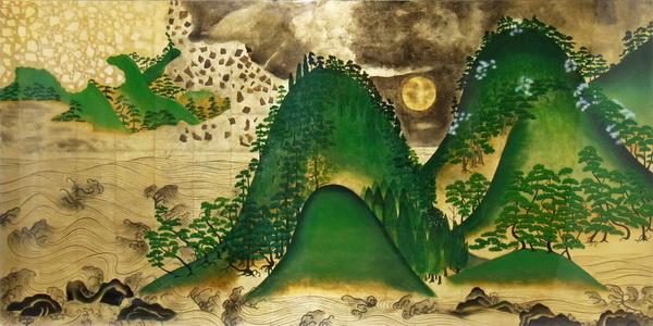 名画 絵画 漆  漆絵 日月(じつげつ)山水図・右隻