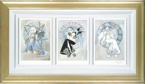 【版画】【中古】 タイムキーパー(蝙蝠・堕天使・天使) リトグラフ 本人 鉛筆 サイン 桜瀬琥姫(Ohse Kohime)