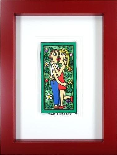 【版画】【中古】 THAT FIRST KISS 3Dアート 本人 鉛筆 サイン ジェームス・リジィ(James Rizzi)