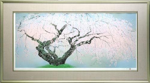 【版画】【中古】 夢殿の枝垂桜 1 リトグラフ 本人 鉛筆 サイン 中島千波(Chinami Nakajima)