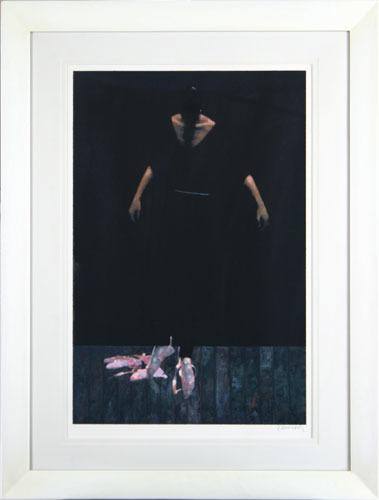 【版画】【中古】 ダンサー イン ザ ブラック オン ブラック シルクスクリーン 本人 鉛筆 サイン ロバート・ハインデル(Robert Heindel)