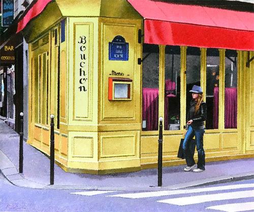 【版画】【中古】 街角のレストラン 油彩原画 本人 ペン サイン 日下部和俊(Kazutoshi Kusakabe)