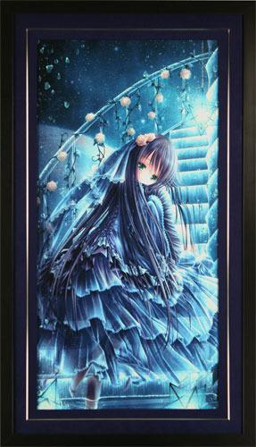 【版画】【中古】 THE BLUE WORLD(C/E) ミクスドメディア 本人 金ペン サイン てぃんくる(Tinkle)