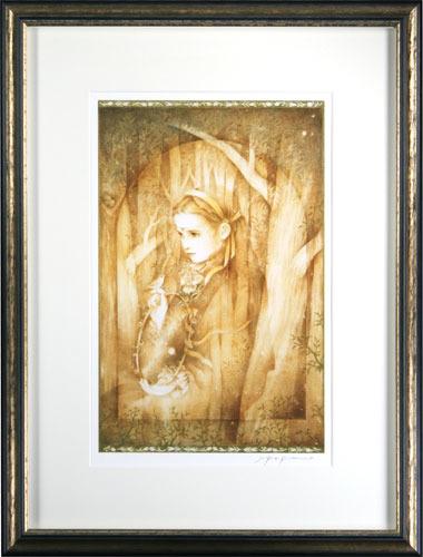 【版画】【中古】 金色の森の少女 アイリス 本人 鉛筆 サイン きたのじゅんこ(Junko Kitano)