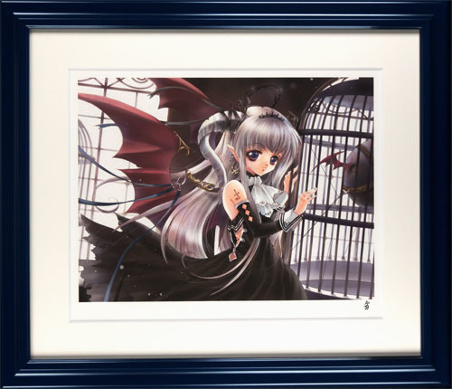 版画 中古 新作販売 鳥かごの悪魔姫 ミックスドメディア 本人 A=g ペン 安売り サイン