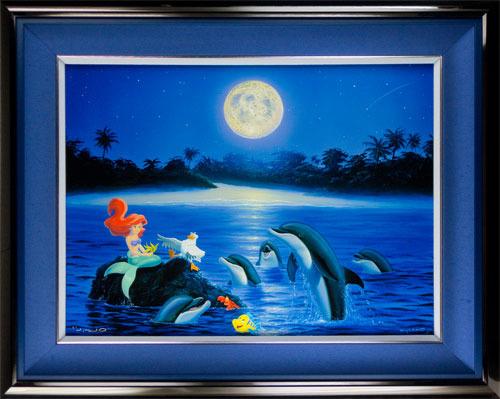 版画 中古 Ariel's Dolphin Serenade シバクローム WYLAND サイン ペン 即納送料無料! 本人 ワイランド クリアランスsale 期間限定