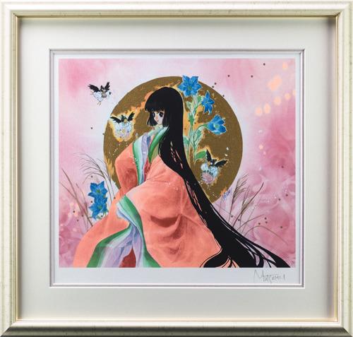 【版画】【中古】 遊月 ミックスドメディア 本人 鉛筆 サイン いのまたむつみ(Mutsumi Inomata)