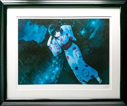 鉛筆 本人 ミクスドメディア サイン 夏のゆらめき 珈琲貴族(ko-hi-kizoku) 【版画】【中古】