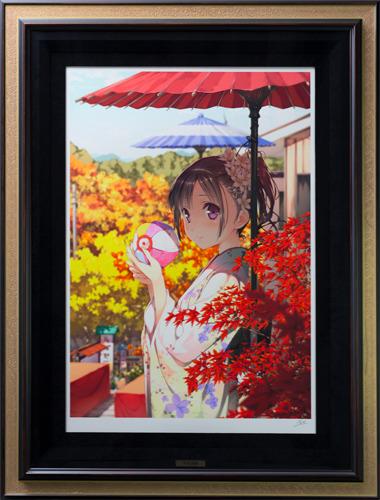 【版画】【中古】 秋色遊戯(DX) ミックスドメディア 本人 鉛筆 サイン カントク(Kantoku)