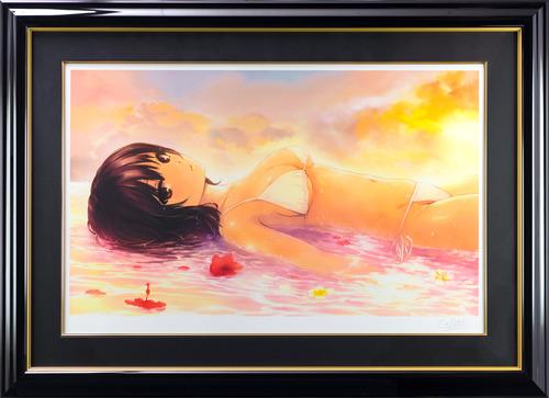 【版画】【中古】 楽園 ミックスドメディア 本人 鉛筆 サイン 珈琲貴族(ko-hi-kizoku)