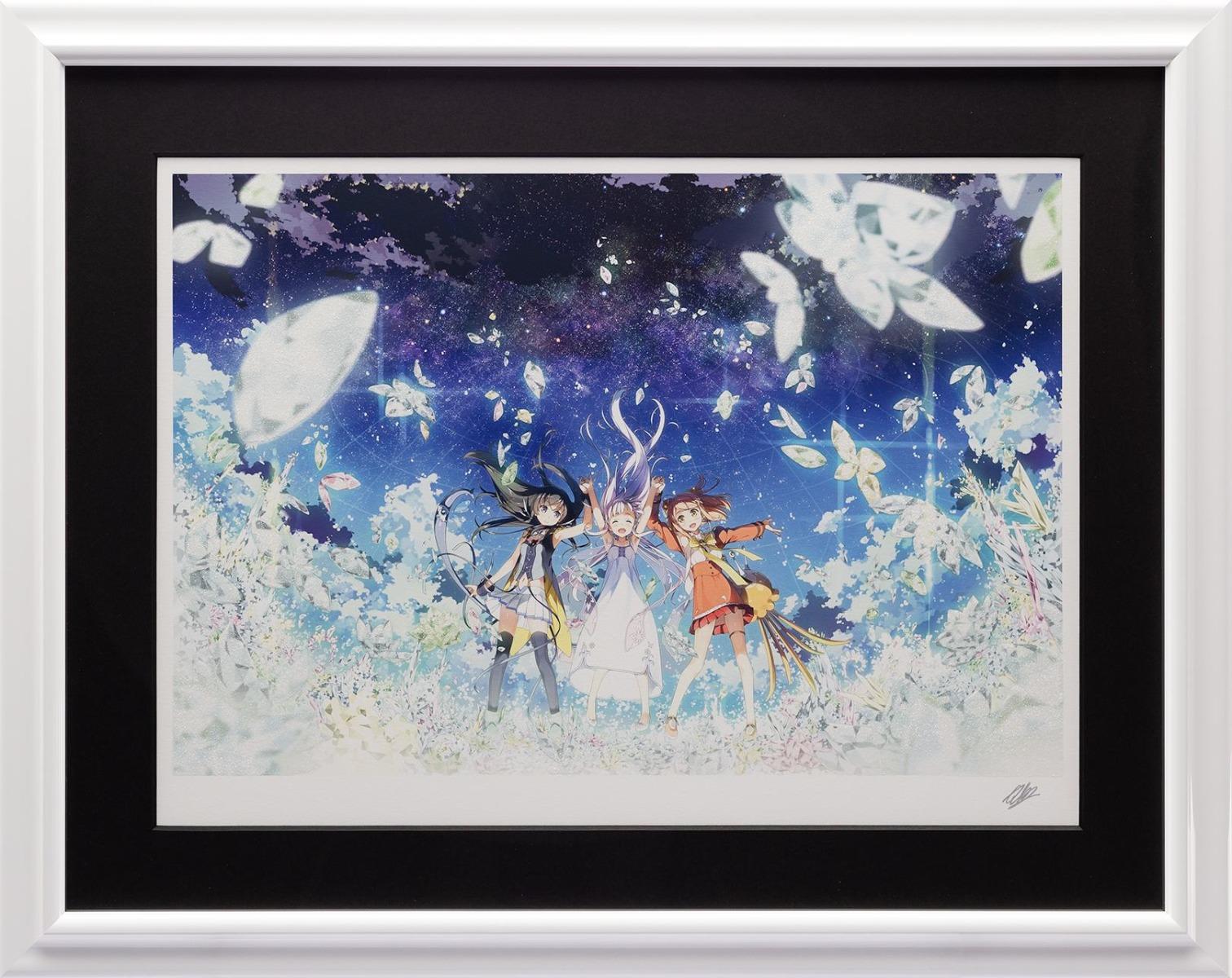 【版画】【中古】 - 夢 - ガラスの花と壊す世界 ミクスドメディア 本人 鉛筆 サイン カントク(Kantoku)