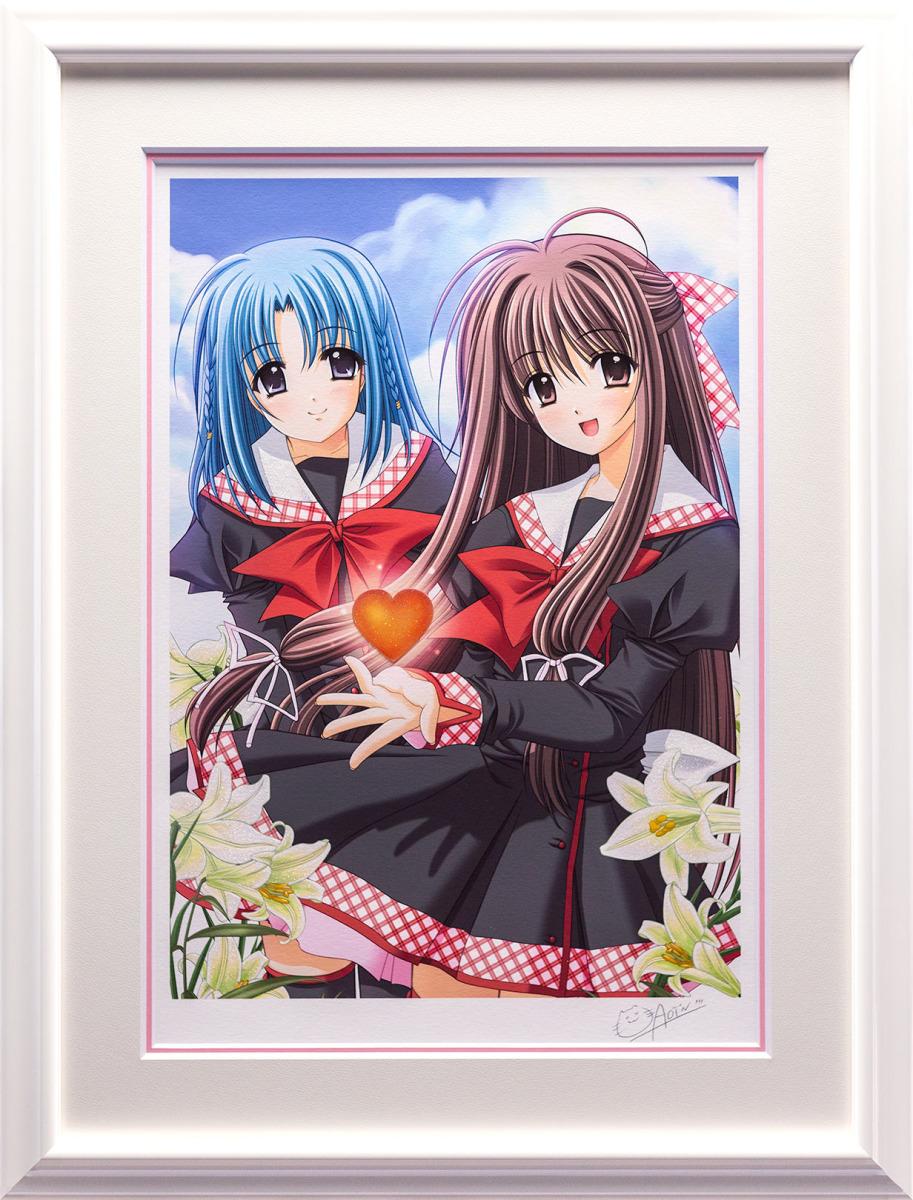 【版画】【中古】 GIRL'S HEART ミックスドメディア 本人 鉛筆 サイン 西又葵(Aoi Nishimata)
