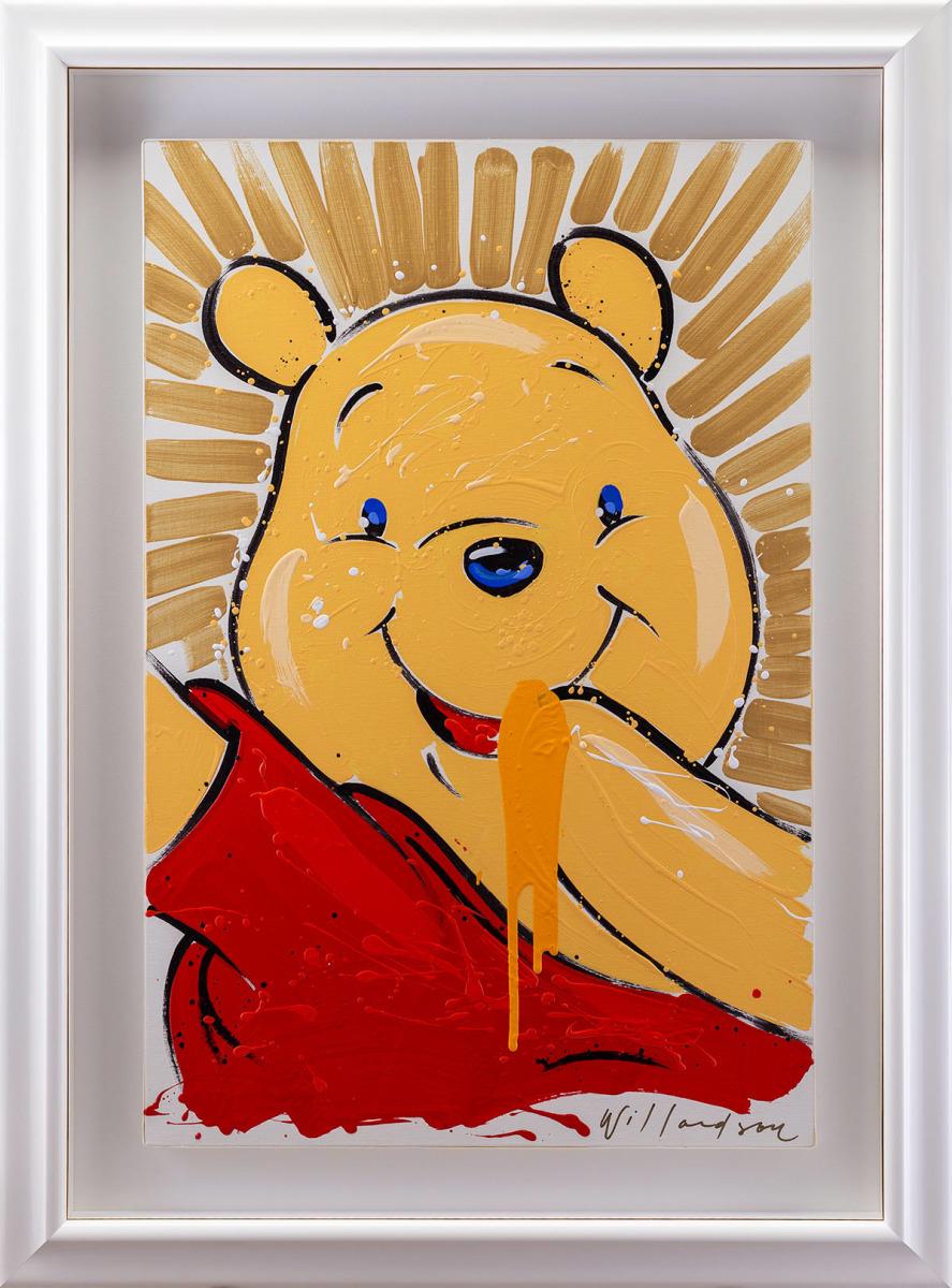 【版画】【中古】 くまのプーさん/アートライブプー/Winnie the Pooh アクリル 本人 金ペン サイン 【ディズニー】デイビット・ウィラードソン(Disney David Willardson)
