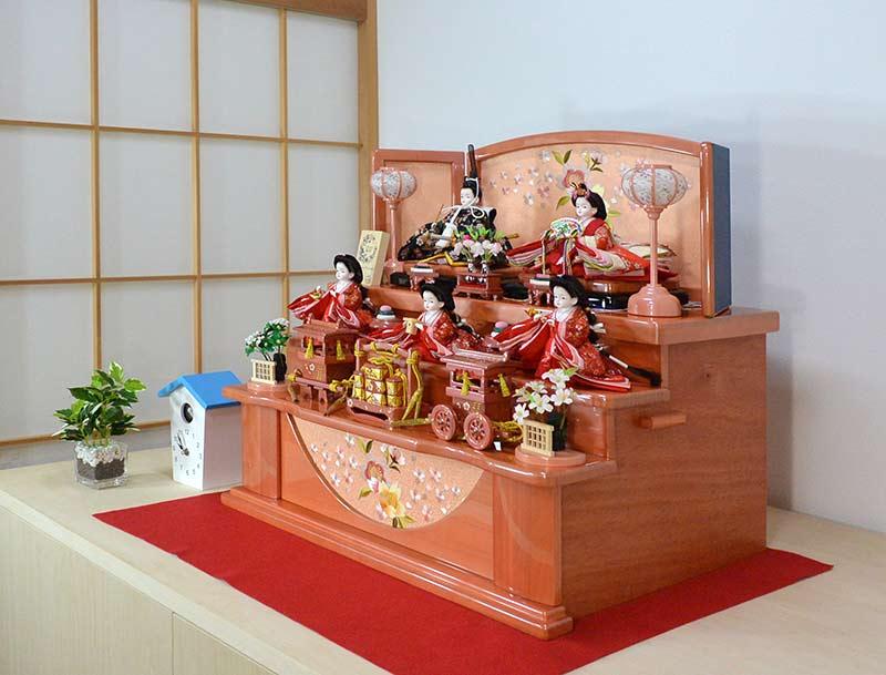 かわいい雛人形【プリンセス雛人形】三人官女つき ししゅう桜 五人飾り