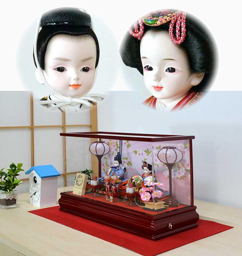 かわいい雛人形【プリンセス雛人形】コンパクトなケースセット ワインレッド さくら舞雛