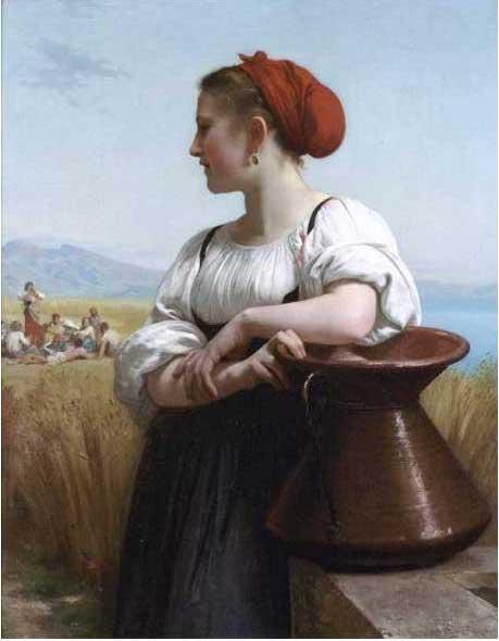 複製画 送料無料 プレミアム 学割 絵画 油彩画 油絵 複製画 模写ウィリアム・ブグロー「収穫する少女」 F10(53.0×45.5cm)サイズ プレゼント ギフト 贈り物 名画 オーダーメイド 額付き