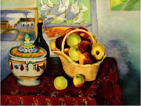 複製画 送料無料 プレミアム 学割 絵画 油彩画 油絵 複製画 模写ポール・セザンヌ「りんごと瓶とスープ容れ」 F12(60.6×50.0cm)サイズ プレゼント ギフト 贈り物 名画 オーダーメイド 額付き
