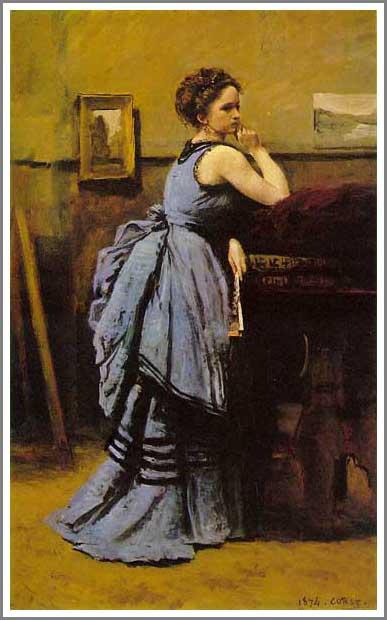 複製画 送料無料 プレミアム 学割 絵画 油彩画 油絵 複製画 模写 カミーユ・コロー「青いドレスの女」 原画同寸サイズ(80×50.5cm)サイズ プレゼント ギフト 贈り物 名画 オーダーメイド 額付き